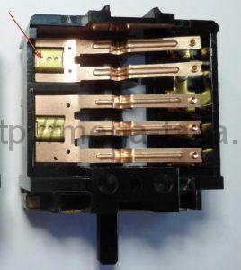 ремонт подгоревшего контакта переключателя мощности электрической плиты