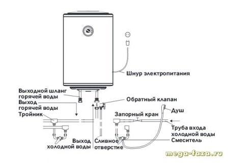 схема разводки водонагревателя