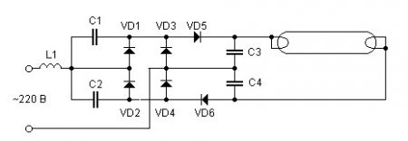 бесстартерное включение люминесцентных ламп схема