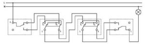 схема проводки двухклавишных проходных