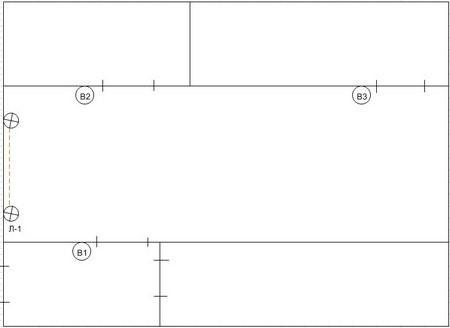 пример подключения двухклавишного проходного выключателя с трёх точек
